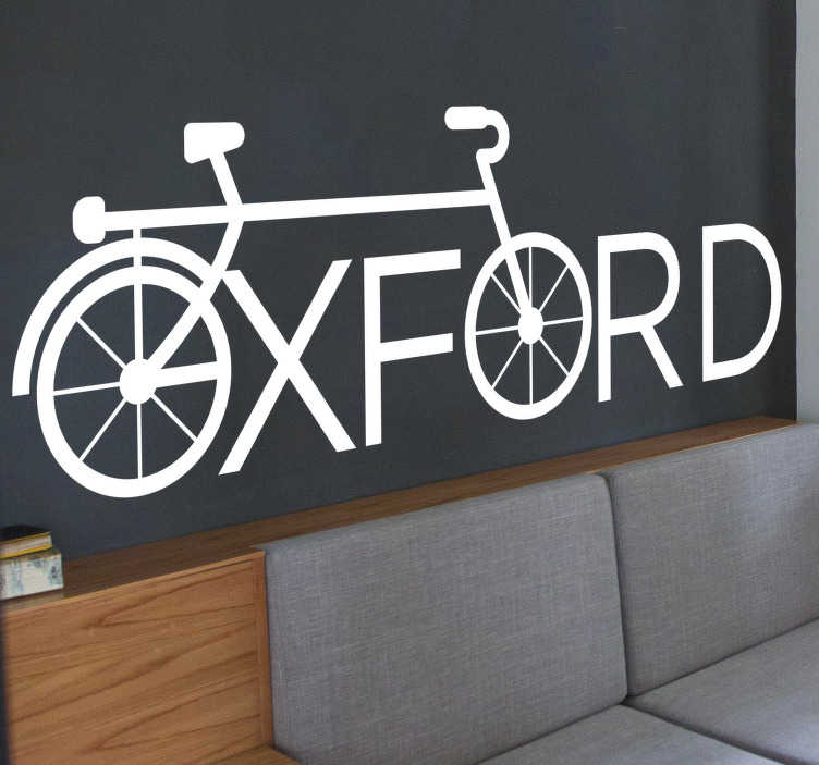 TenStickers. Oxford cycling cycling wall sticker. Oxford cycling wall decal design of a bicycle with the front and back wheel created with the name oxford. A design in white simple style.