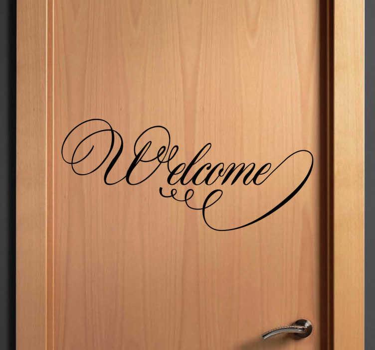 TenVinilo. Vinilo decorativo welcome filigranas. Adhesivo de coquetas letras dando la bienvenida, perfecto para decoración de puertas y darle un aire romántico y antiguo con sus ondulaciones.