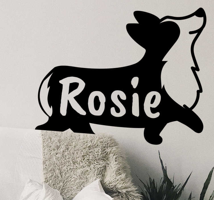 TenStickers. Personalised name corgi silhouette pet wall sticker. Personalisable name corgi silhouette pet sticker that will make your kid feel super. This is a design that shows a corgi running with a name on it.