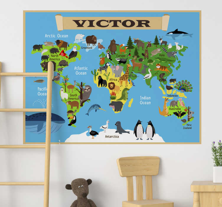 TenStickers. Personalised world map sticker. You will love this design of personalised animal world map wall sticker with your name on it. This product is designed with animals around the world.
