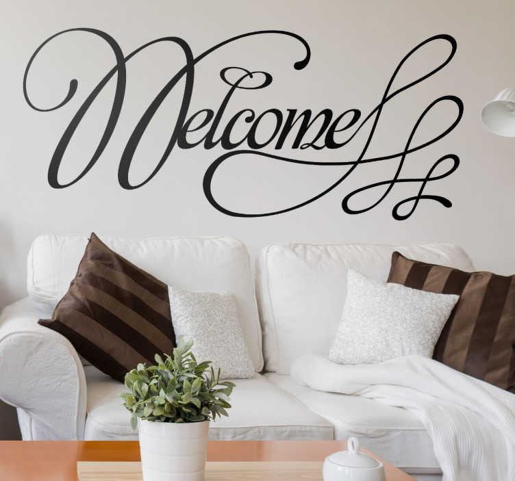 TenVinilo. vinilo decorativo welcome caligráfico. Adhesivo dando la bienvenida en letras muy elegantes y decorativas. Dale un toque chic a la puerta de tu hogar con un estético vinilo.