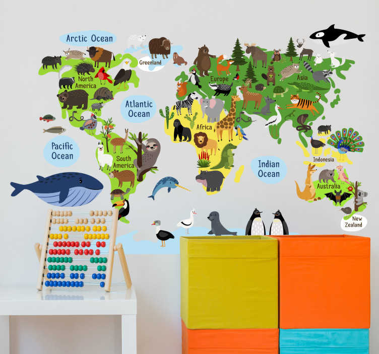 TenStickers. World map with trees and animals wall sticker. You will love this design of world map with trees and animals location wall sticker on your wall. It's a design of animals on the map you cant resist.