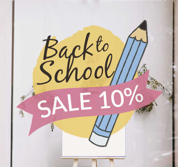 TenStickers. Back to school sale pins sale wall sticker. Back to school sale pins sale window sticker designed on a yellow background, with a black text 'back to school' with a pencil by the side .