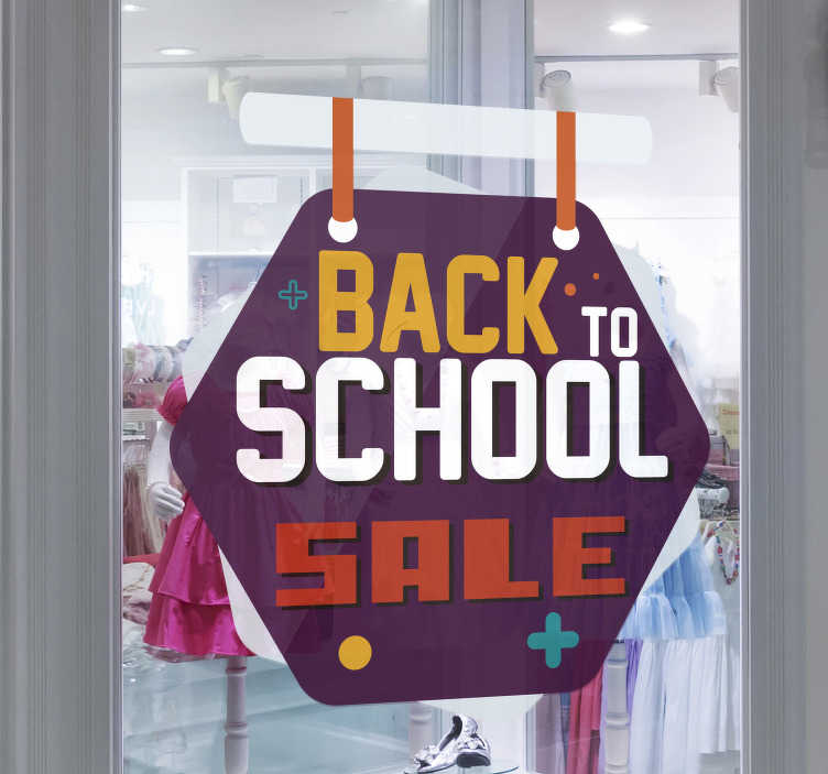 TenStickers. Back to school sale tags sale wall sticker. Back to school sale tags sticker design created on a purple background with the text for sales promotion in yellow, orange, and maroon colour.