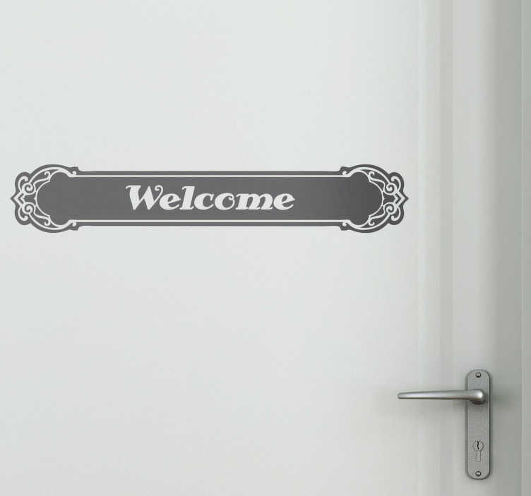 TenStickers. Classic Welcome Vinyl Sticker. Decals - Attractive welcome sign with traditional letters inside an ornate, perfect to embellish any door in your home.