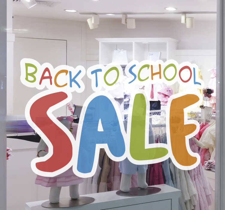 TenStickers. Back to school sale text wall sticker. Advertise your seasonal offer with this back to school sale text wall sticker for your shop.This design is created in multicoloured text just for you.