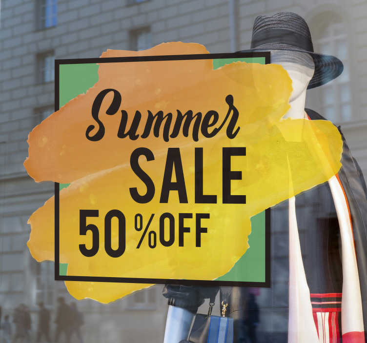 TenStickers. Colourful summer sale wall sticker. Are you trying to promote sales for summer? why not buy this colourful summer sale sticker for your business notice. Its of high quality matte.