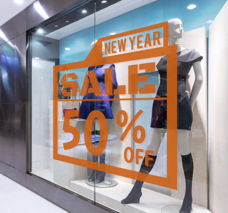 TenStickers. Fun New Year sale wall sticker. For your shop you need this fun new year sale sticker to make notice of your business sales. This product can be personalised with the text.