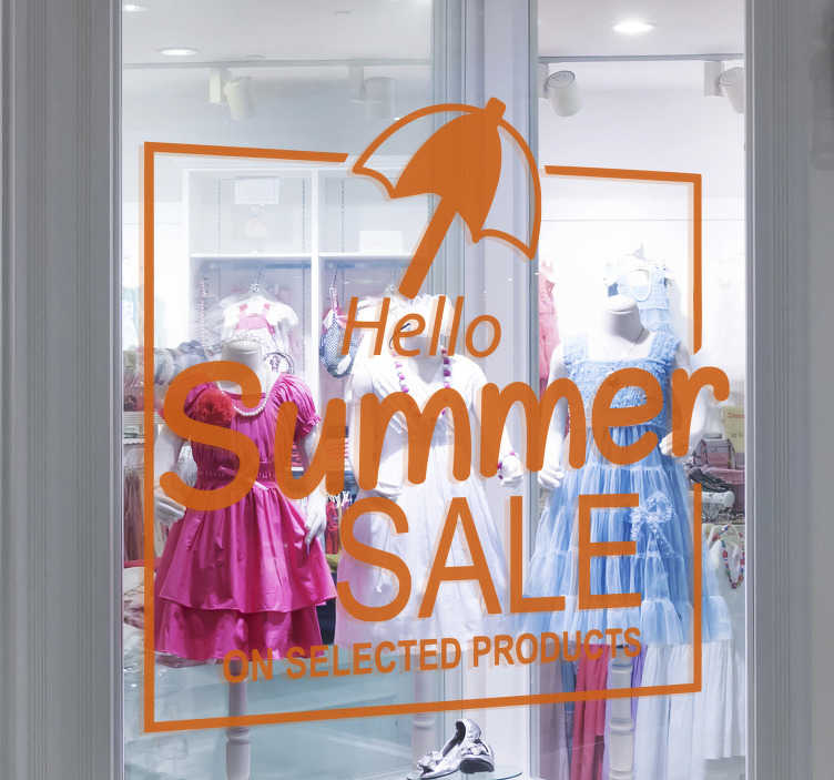 TenStickers. Hello summer sale sale wall sticker. Hello summer sale sale sticker designed in orange colour. This Hello summer sale sale decal design contains an umbrella, promotional and text.