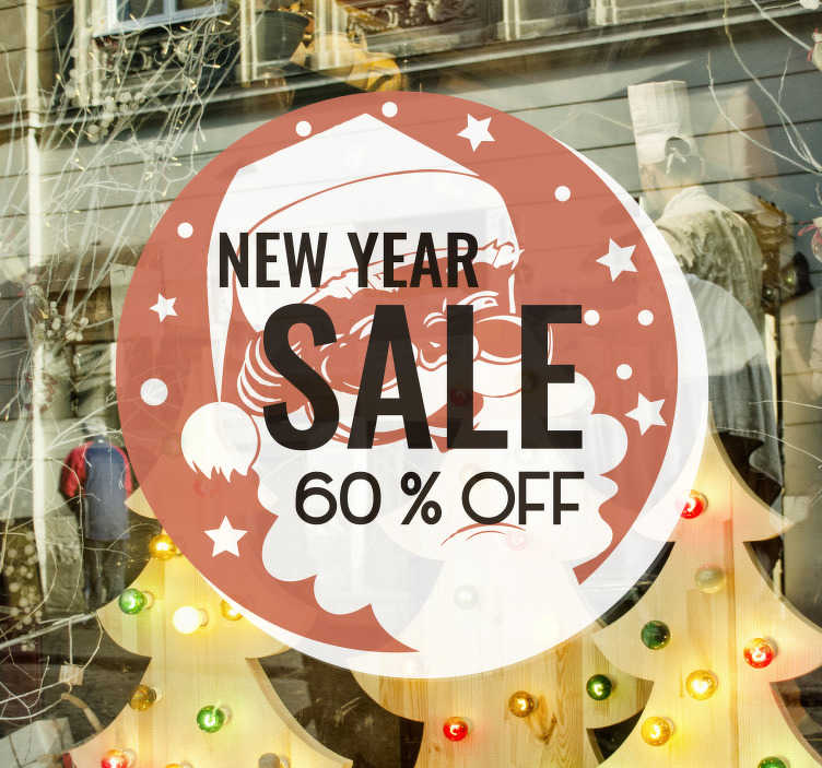 TenStickers. Santa New Year sale wall sticker. Santa new year sales sticker for your business notice .This product is designed in a maroon and white colour with a black text for any glass surface.