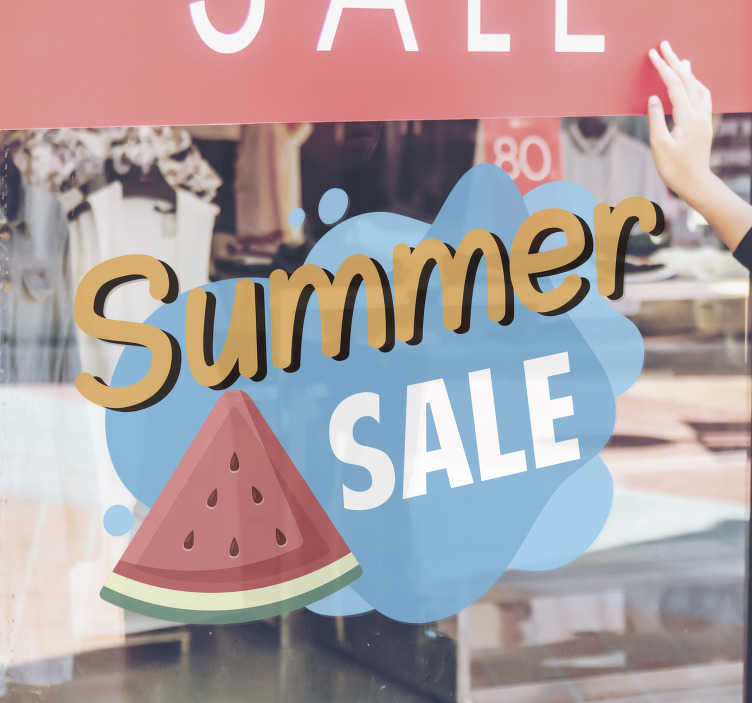 TenStickers. Summer sale set sale wall sticker. Summer sale set sticker for your shop windows to promote your business sales.This product is a design of what summer looks like in blue,yellow colour.