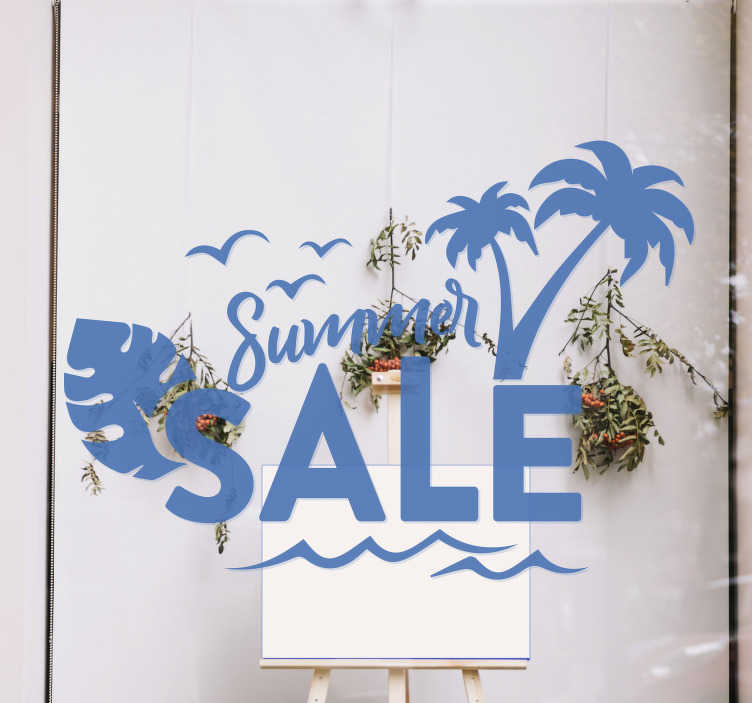 TenStickers. Summer sun sale wall sticker. Summer sun sale sale sticker for your for your shop and business. This is a design of  beach tree with text and you can have it in any size and colour.