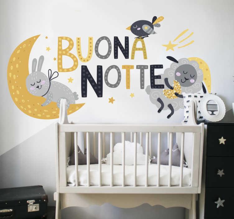 TenStickers. Buona notte illustrazione dei bambini stickers murali. Adesivo da parete bambino buonanotte per la cameretta e per aiutarlo a dormire bene. Design realizzato con uccelli, conigli, stelle a colori.