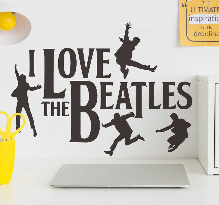 TenStickers. The Beatles character wall decor. The Beatles character wall sticker design created with text and people in black colour that will look nice on your wall and you can chose your size.