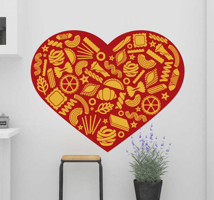TenStickers. Adesivo cuore con tipi di pasta. Vorresti avere questo adesivo cuore con tipi di pasta nella tua cucina?  Un disegno a forma di cuore con pasta gialla su uno sfondo rosso.