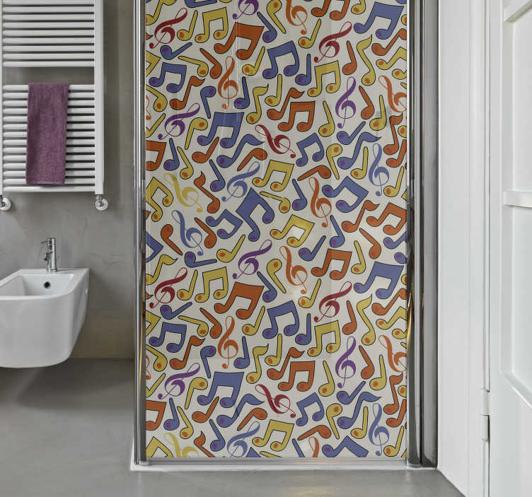 TenStickers. Musical notes shower heads wall sticker. Music note shower door wall sticker for your bathroom, to make you feel good for the time you spend in it. Enough of boring bathrooms.