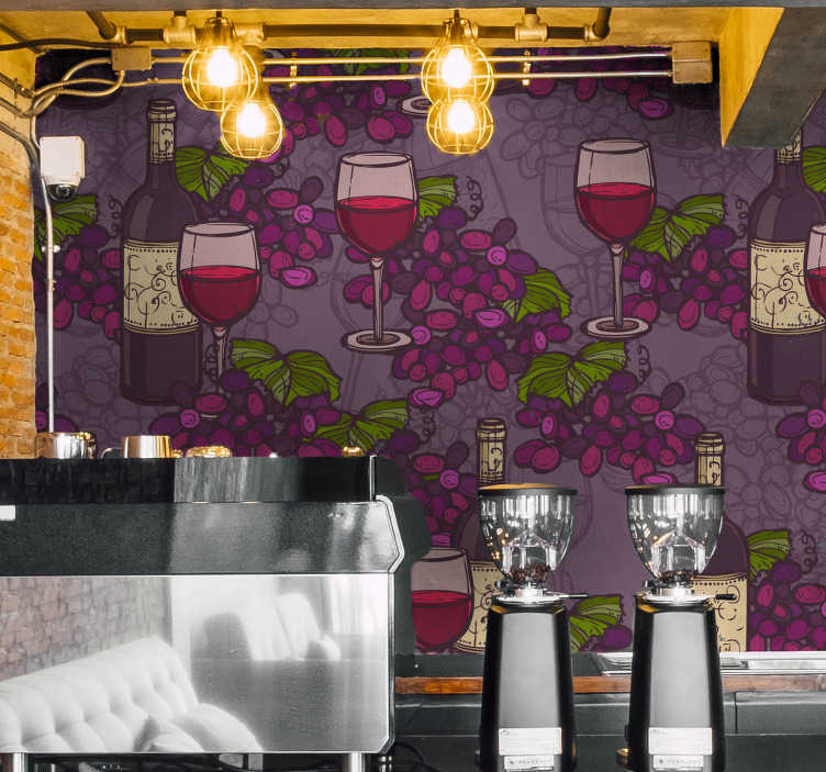 TenStickers. Wine list for local wall sticker. Wine list for local drink kitchen sticker for your dinning area. This high quality product is a design of wine and berries on purple background.