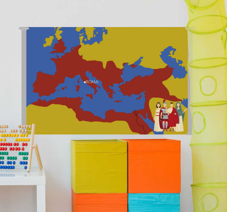 TenStickers. Adesivo mappa mondo impero romano. Adesivo da parete con mappa dell'impero romano che si adatterà perfettamente alla tua parete di casa, nel tuo salotto e persino nella tua camera da letto.