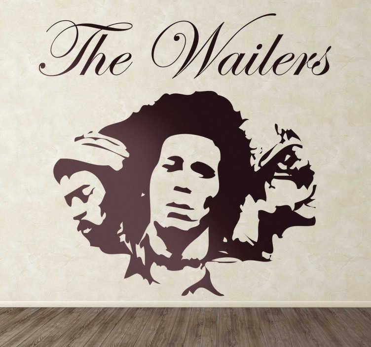 TenVinilo. Vinilo decorativo Bob Marley Wailers. Adhesivo  de la banda de reggae creada por Bob Marley, cantante jamaicano famoso por su música y compositor de exitosas canciones.