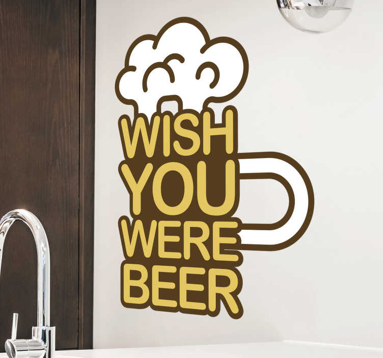 TenStickers. Sticker mural boisson à la bière. Boisson à la bière avec autocollant mural de texte conçu pour avoir dans votre bar ou n'importe quelle surface de votre maison. Ce produit est une conception de bière avec texte avec citation.