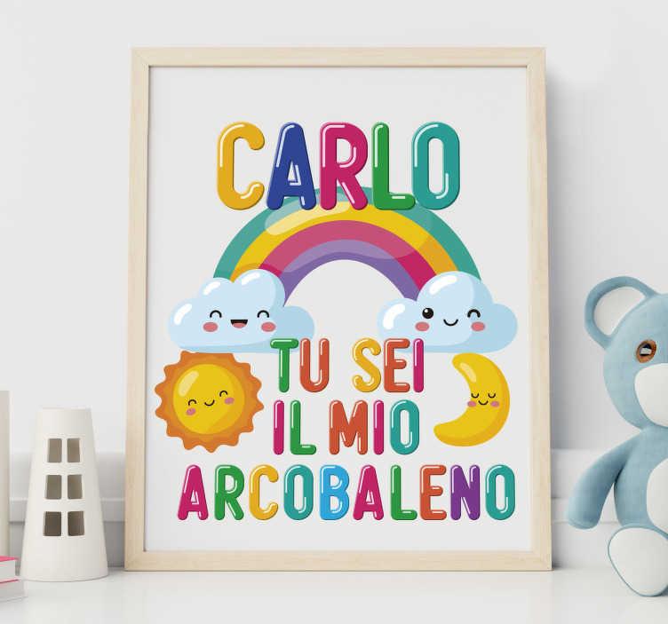 TenStickers. Sei il mio arcobaleno illustrazione con nome adesivo. Personalizza la cameretta di tuo figlio con questo adesivo per bambino sei il mio arcobaleno con nome. Questo design renderà davvero felice tuo figlio!