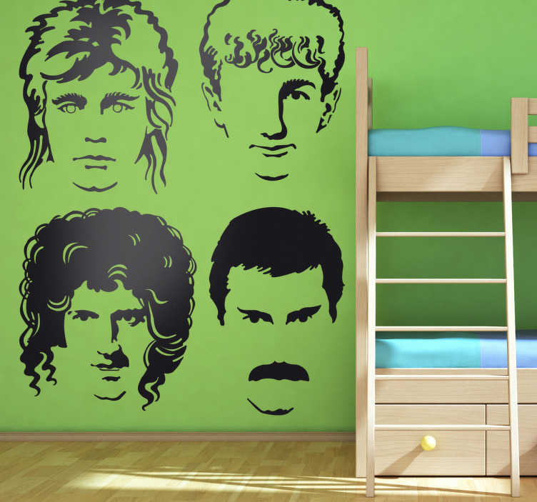 TenVinilo. Vinilo decorativo caras Queen. Adhesivo  del grupo de música Queen, banda de rock británica compuesta entre ellos por el famoso cantante Freddie Mercury.