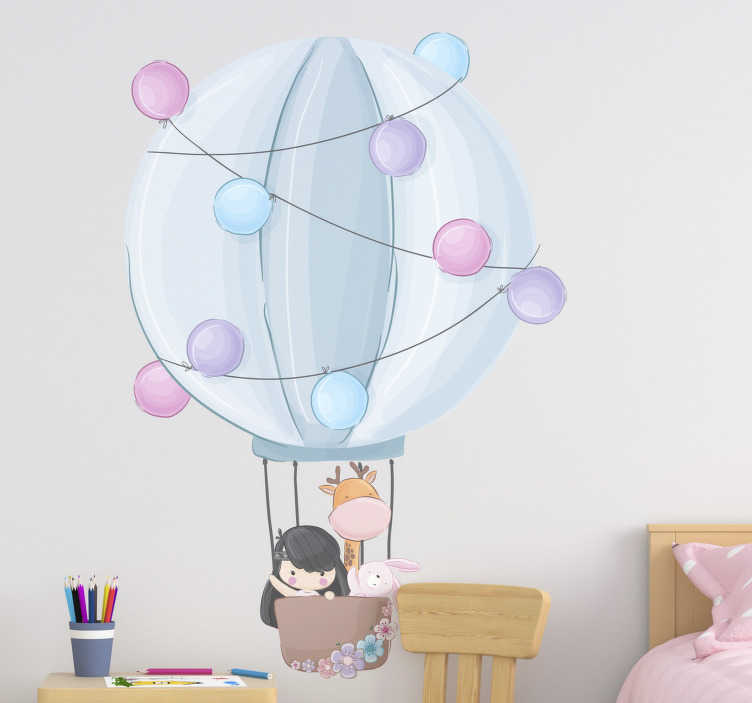 TenStickers. Hot air balloons  illustration wall art. Hot air balloon illustration wall sticker for your kid bedroom and playroom. It's  a design of a kid with his toys in an air filled beautiful balloon.