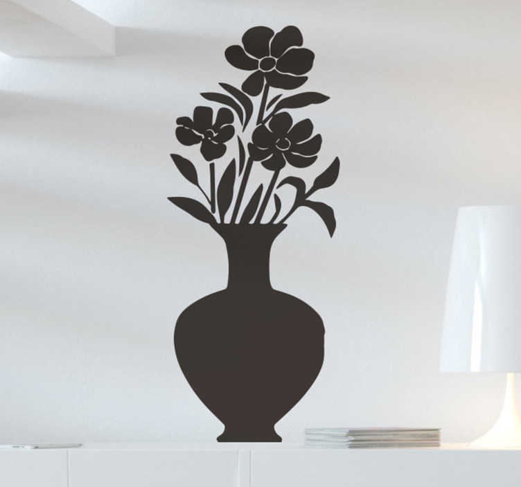 TenStickers. Flowerpot flower wall decor. A  flower pot wall decal for your home. This product is a design of a flower inside a vase in a black  unique colour that you will love on your wall.