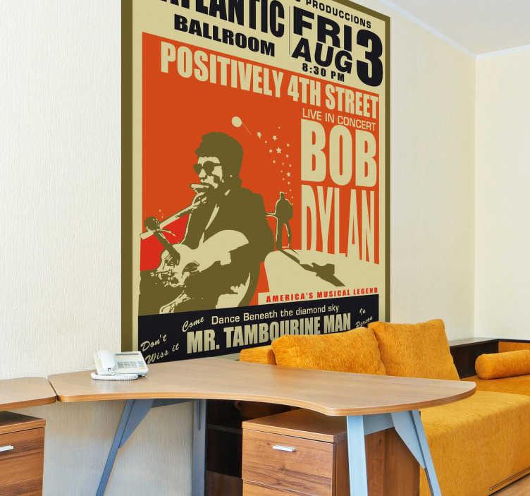 TenVinilo. Vinilo decorativo cartel Bob Dylan. Adhesivo  antiguo anunciando un concierto del artista Bob Dylan, músico, cantante y poeta estadounidense. Uno de las figuras más populares en el mundo de la música.