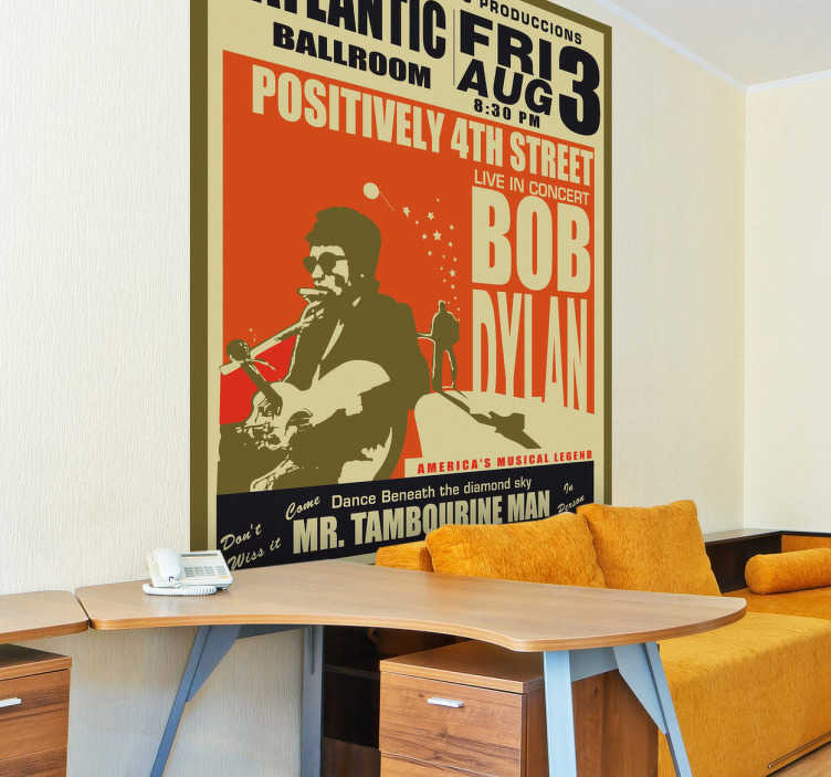Autocollant mural affiche Bob Dylan