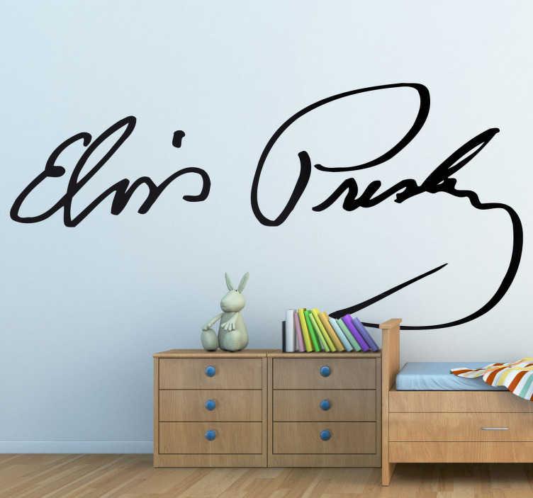 TenVinilo. Vinilo decorativo firma Elvis Presley. Adhesivo con el autógrafo del famoso cantante, el rey del rock and roll y leyenda del mundo de la música. Si te consideras admirador de este artista no puede faltarte este vinilo.