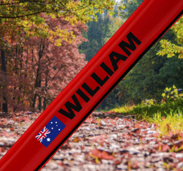 TenStickers. Customisable Australian bike cycling wall sticker. Australia bike cycling decal design of an Australia flag with a Customisable name on red background and your kid will love to use it on the bike.