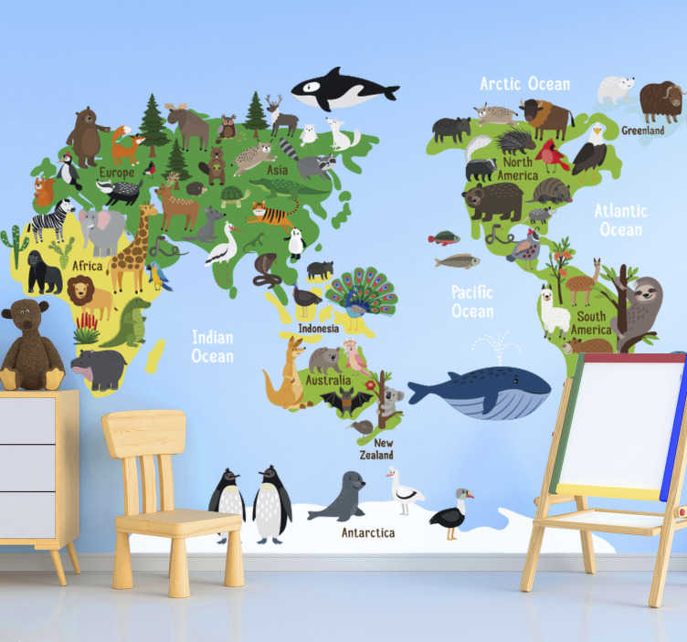 TenStickers. Australian Kids Animal World Map world map wall sticker. Australia kids animal world map sticker design that illustrates most animals that can be found on the continent.This design is very good for the kids.