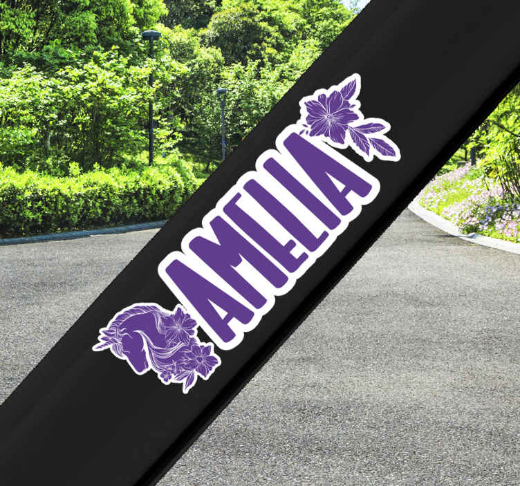 TENSTICKERS. カスタマイズ可能な美しいユニコーンバイク動物壁ステッカー. 美しいユニコーン動物のカスタマイズ可能な自転車のステッカー。任意の名前でパーソナライズできるユニコーン、花、テキストのデザイン。
