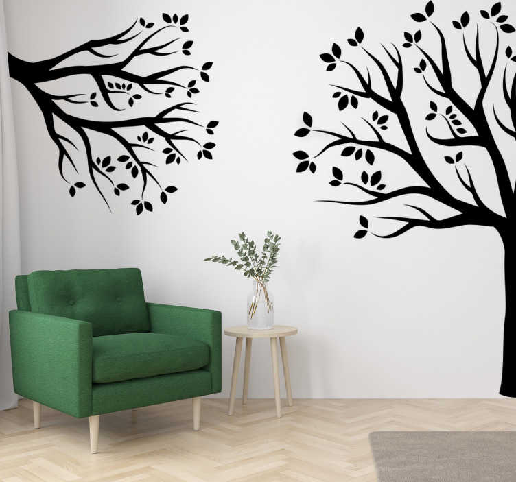 TenStickers. Corner tree wall decal. A corner tree plant wall art sticker that will be nice in your home.This tree design is in silhouette style placed on separate corners for uniqueness.