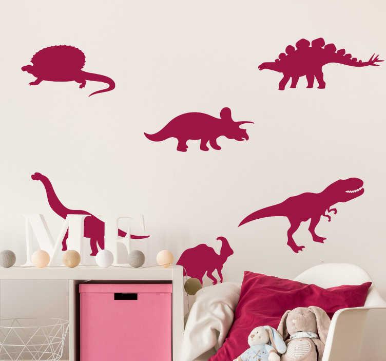 TenStickers. Dinozavri pakirajo stenski dekor. Dinozavri v paketu dekor za steno, da bosta otrokova soba presenečena in navdušena nad to izumrlo živalsko obliko. Ta izdelek je lahko po velikosti po vaši izbiri.