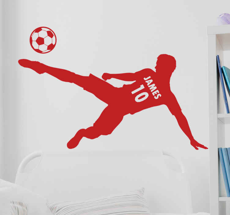 TenStickers. Football Player with Name and Numbe football wall sticker.   A  player silhouettes that is customisable with any name that you want . This is a design  created with a football player, name his number.