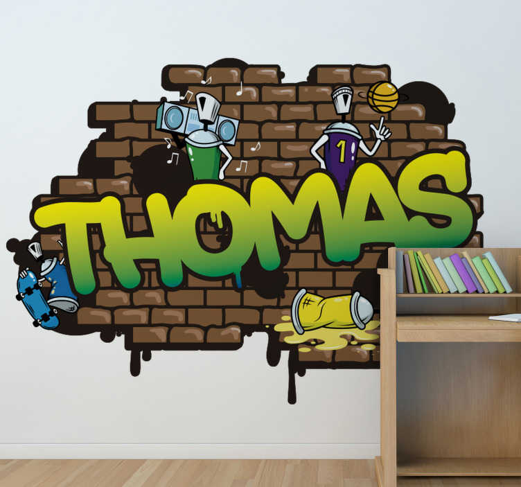 TenStickers. Graffiti Name brick background urban decal. A personalized  brick background graffiti sticker with children cartoon atmosphere. This design is created with bricks in brown color,robot and music.