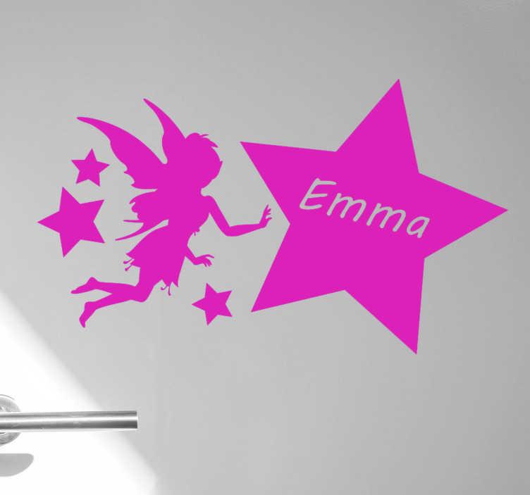 TenStickers. Fe og navngivne stjerner fantasy decor. Fe og navngivet stjerne fantasy vægoverføringsbillede. Dette er et design af en færge, som din datter vil elske, du kan personalisere dit barns navn på den.