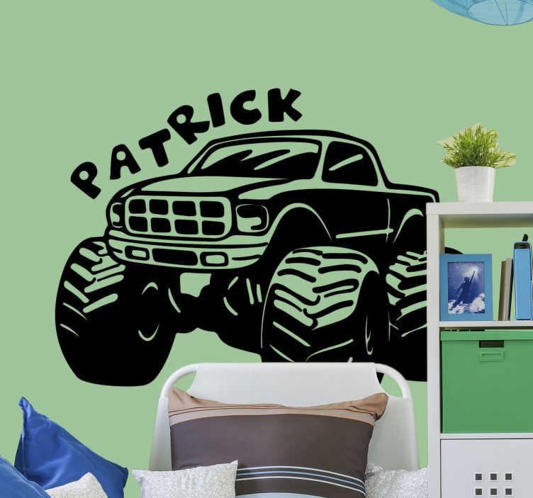 TenStickers. Monster truck met naam  zelfklevende autosticker. Monster truck auto met zelfklevende naamsticker ontwerp dat mooi zal zijn op de muur van uw kind slaapkamer en speelkamer. Dit is een ontwerp van een grote vrachtwagen.
