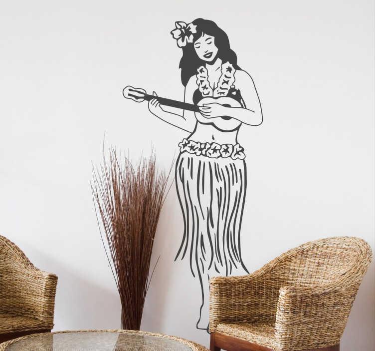 TenStickers. Sticker decorativo hawaiana con ukulele. Adesivo murale che raffigura una giovane abitante dell'isola delle Hawaii che suona la sua chitarra