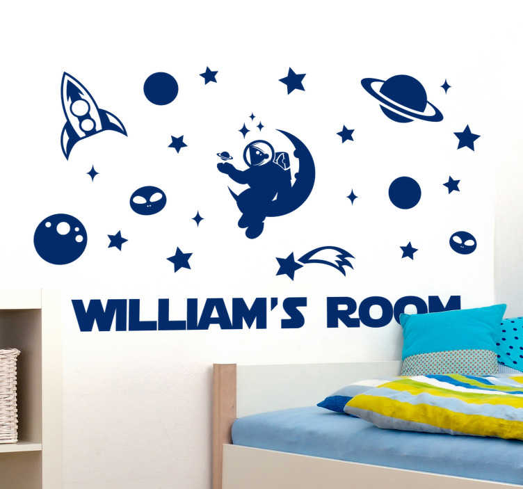 TenStickers. Customisable Space roomsticker. Make your child feel like they are in space with this  personalised space room kids bedroom sticker. This design is high of high quality matte.