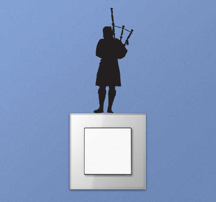 TenStickers. Bagpipe player wall decor. A back pipe instrument player wall sticker silhouette on your wall in the living room, bedroom, office or even your kitchen. Design of high quality.