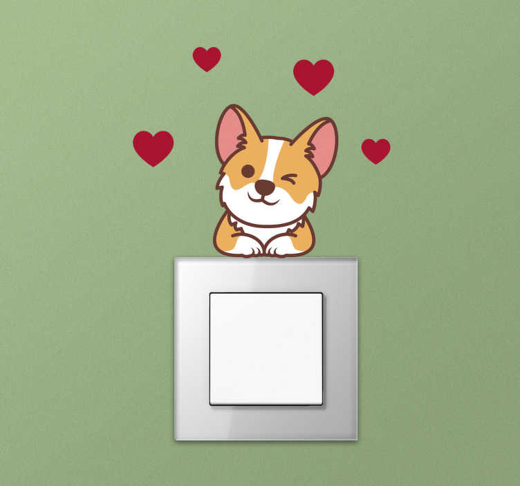 TenStickers. corgi wall decor. Corgi light switch wall sticker design of cartoon character with love symbol in red around it This design will be nice in your kid bedroom .