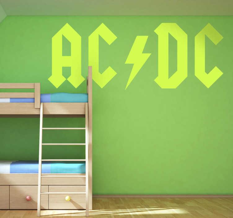TenStickers. Sticker AC DC  logo. Een leuke muursticker met het logo van de groep AC/DC. Prachtige wanddecoratie voor de fans van hard rock en heavy metal muziek.