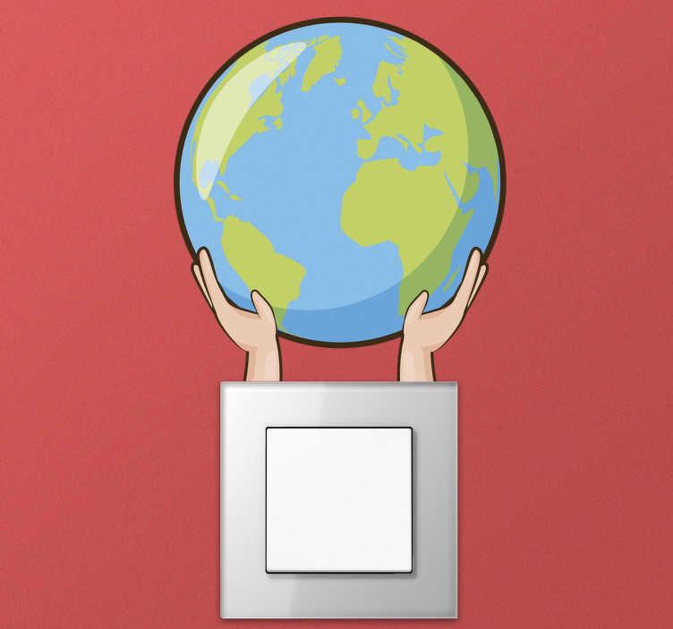 TENSTICKERS. 地球の世界地図のステッカーを保存. リビングルームや寝室にあるこの地球のセーブマップステッカーで、地球を炭素害から守るための支援を示してください。世界地図デザイン