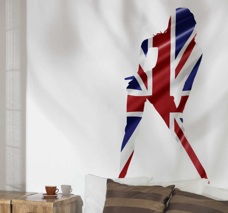 TenStickers. Sexy girl Union Jack silhouette Adult Wall Sticker. A sexy adult girl union jack wall sticker. A design of the UK flag in an adult lady silhouette style. This product is finished in high quality matte.