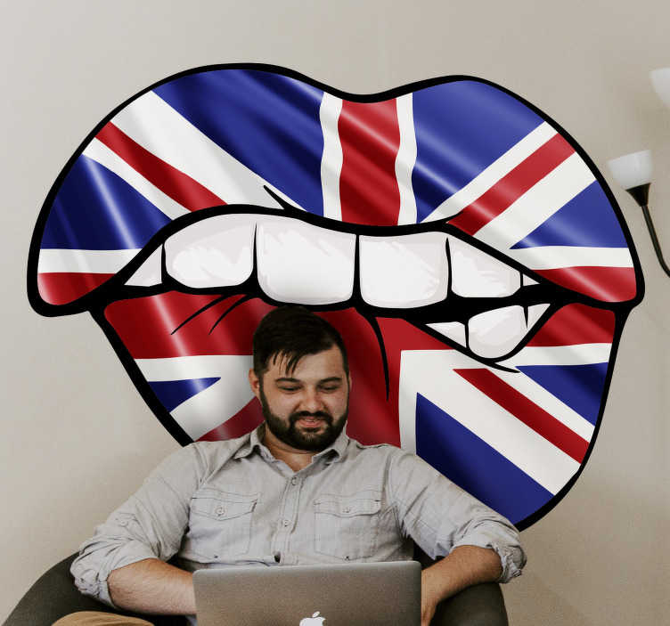 TenStickers. Sexy Union Jack lips Adult Wall Sticker. Sexy union jack lips adult wall sticker design for your living room and bedroom .This is a design of theunited kingdom flag in a lip beautiful shape.