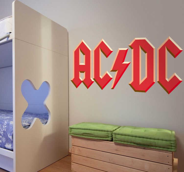 TenVinilo. Adhesivo logo AC DC efecto relieve. Adhesivo con las letras del grupo AC/DC. Con su estilo de música hard-rock y heavy metal.