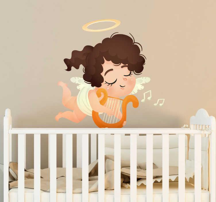 TenStickers. Sticker meisje harp. Deze muursticker beeld een cartoonachtige vrouw uit spelend op een harp. Deze sticker is ideaal om te gebruiken voor kinderen met muzikale interesses.
